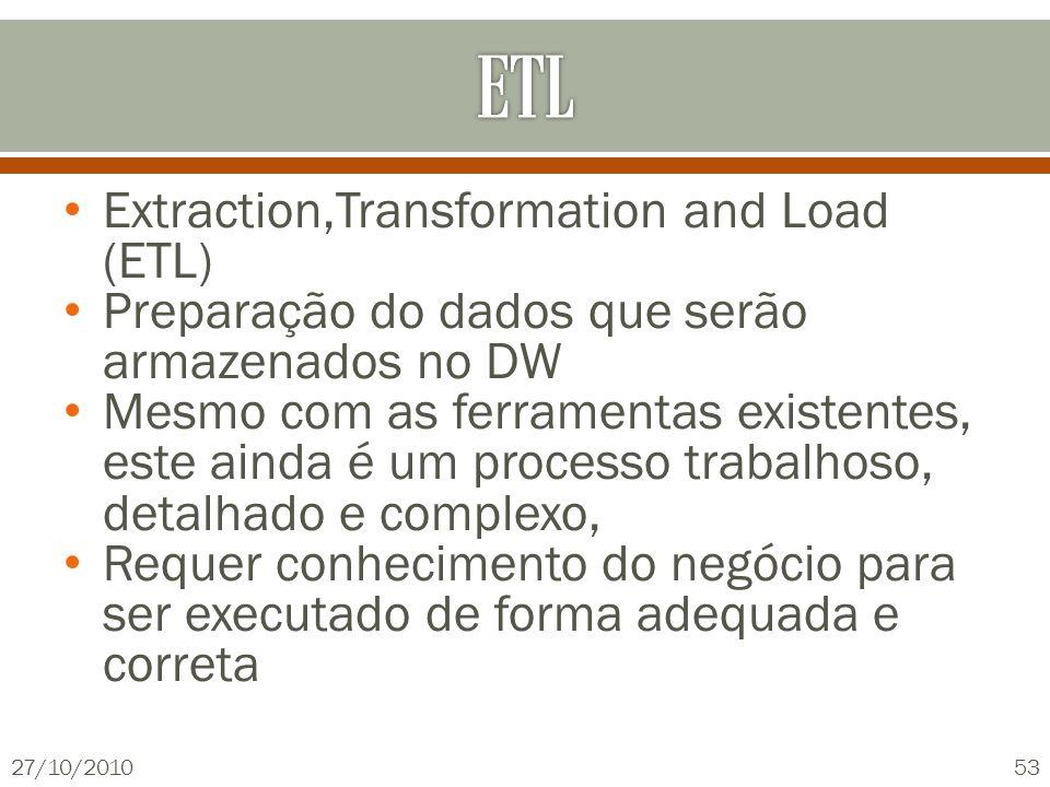 Extraction,Transformation and Load (ETL) Preparação do dados que serão armazenados no DW Mesmo com as ferramentas existentes, este ainda é um processo