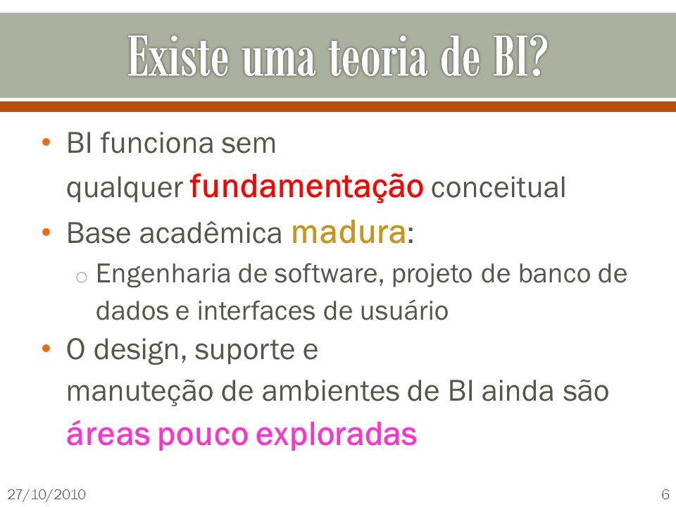 BI funciona sem qualquer fundamentação conceitual Base acadêmica madura : o Engenharia de software, projeto de banco de dados e interfaces de usuário