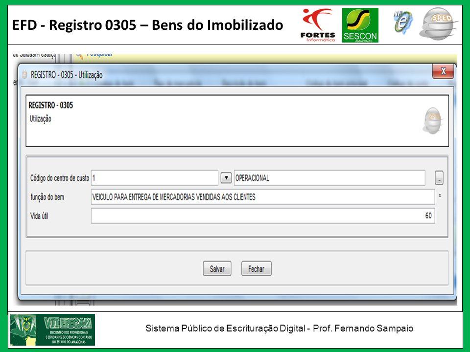 EFD - Registro 0305 – Bens do Imobilizado Sistema Público de Escrituração Digital - Prof. Fernando Sampaio