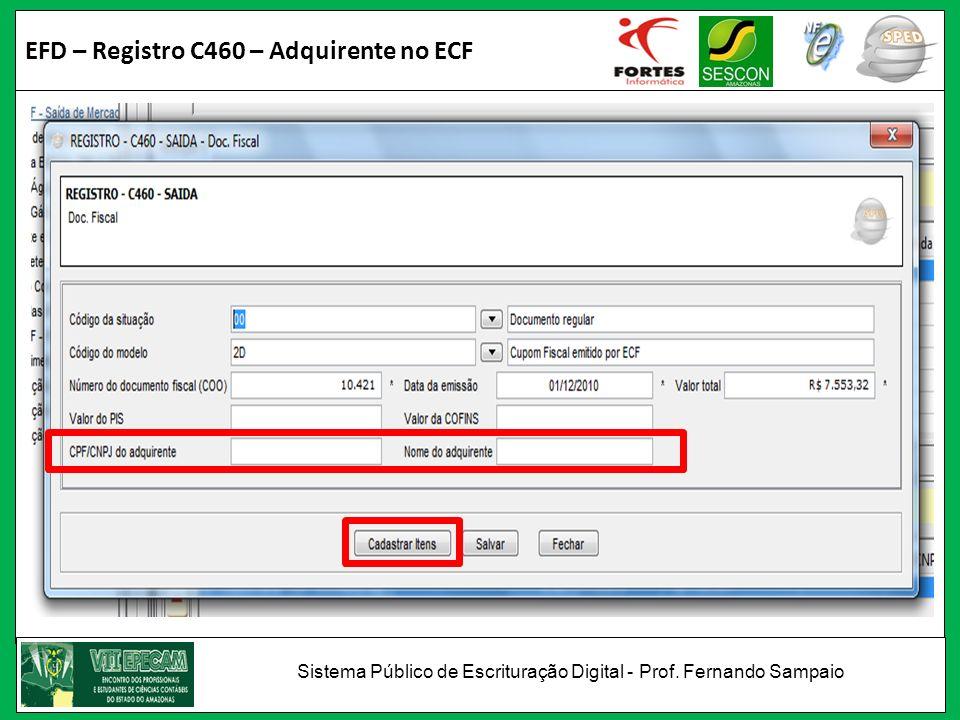 EFD – Registro C460 – Adquirente no ECF Sistema Público de Escrituração Digital - Prof. Fernando Sampaio