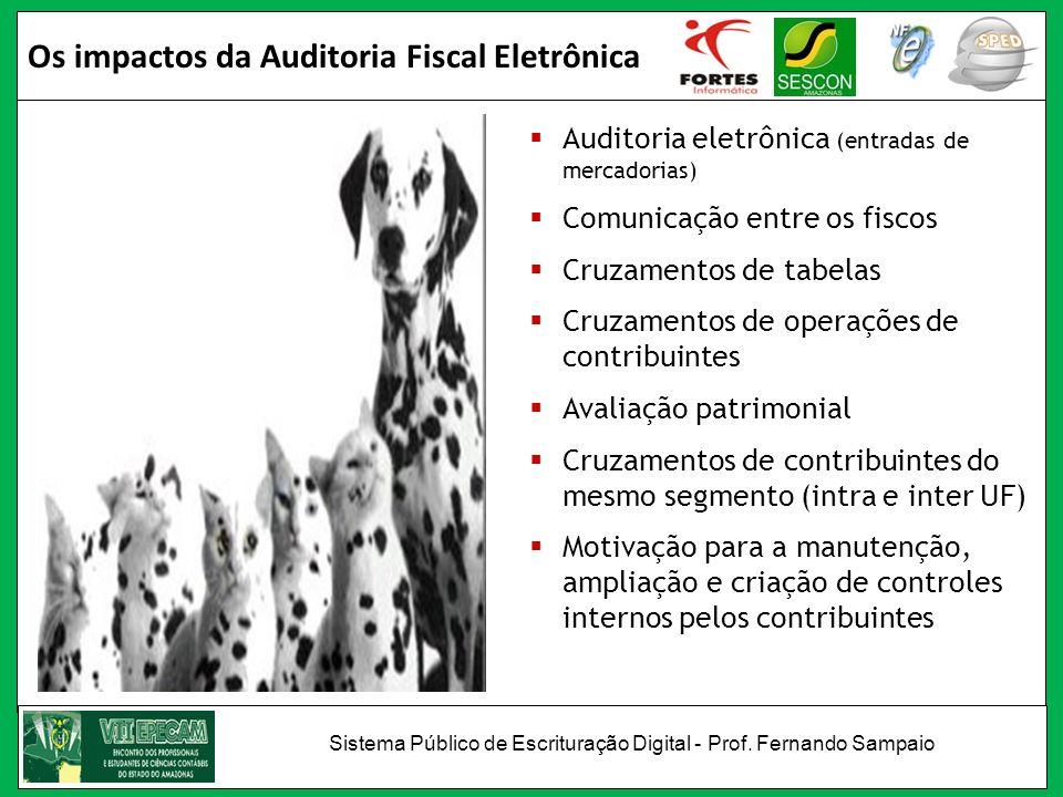 Os impactos da Auditoria Fiscal Eletrônica Auditoria eletrônica (entradas de mercadorias) Comunicação entre os fiscos Cruzamentos de tabelas Cruzament