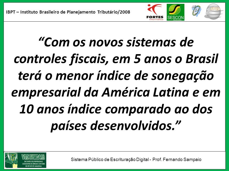 IBPT – Instituto Brasileiro de Planejamento Tributário/2008 Com os novos sistemas de controles fiscais, em 5 anos o Brasil terá o menor índice de sone