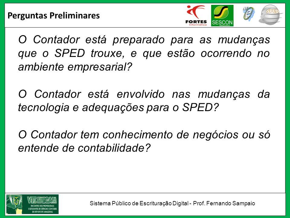 Perguntas Preliminares O Contador está preparado para as mudanças que o SPED trouxe, e que estão ocorrendo no ambiente empresarial? O Contador está en
