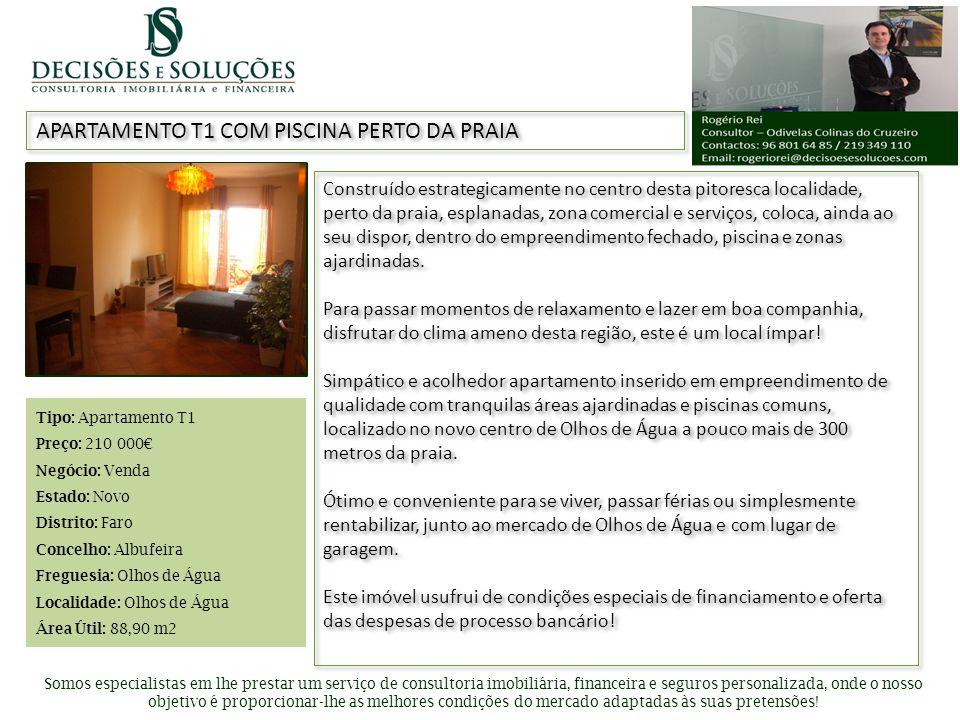 Inserir foto de apresentação APARTAMENTO T1 COM PISCINA PERTO DA PRAIA Somos especialistas em lhe prestar um serviço de consultoria imobiliária, finan
