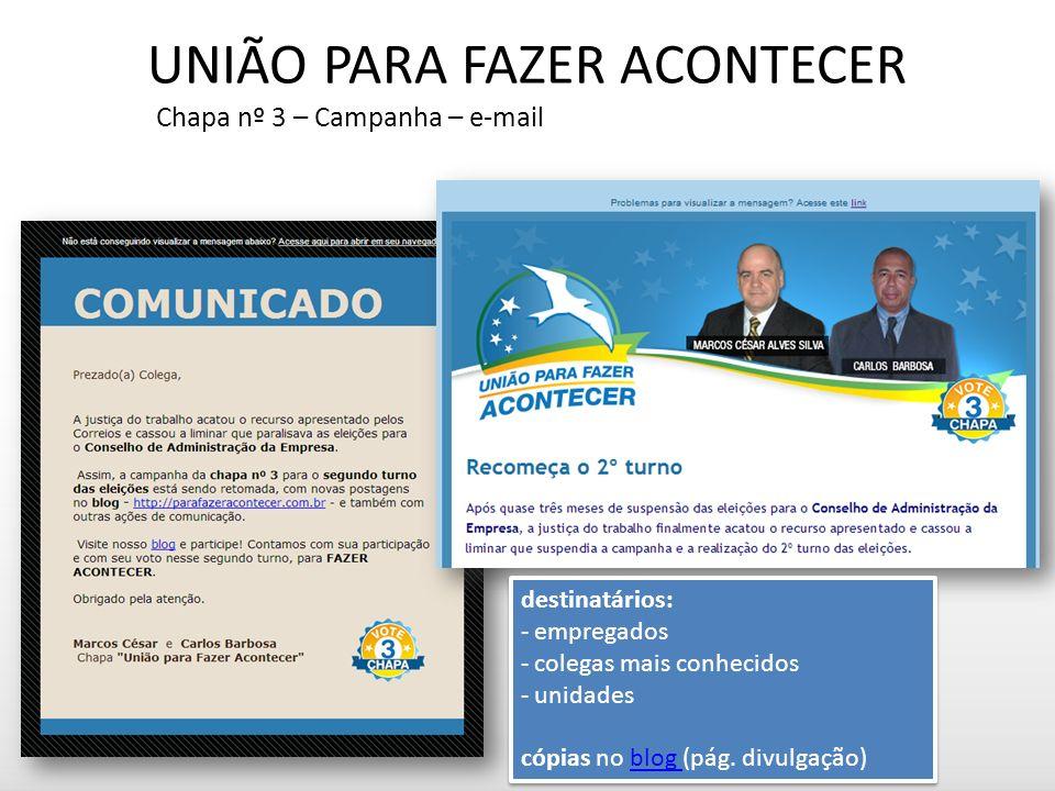 UNIÃO PARA FAZER ACONTECER Chapa nº 3 – Campanha – e-mail destinatários: - empregados - colegas mais conhecidos - unidades cópias no blog (pág.