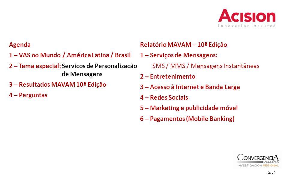 Relatório MAVAM – 10ª Edição 1 – Serviços de Mensagens: SMS / MMS / Mensagens Instantâneas 2 – Entretenimento 3 – Acesso à Internet e Banda Larga 4 – Redes Sociais 5 – Marketing e publicidade móvel 6 – Pagamentos (Mobile Banking) Agenda 1 – VAS no Mundo / América Latina / Brasil 2 – Tema especial: Serviços de Personalização de Mensagens 3 – Resultados MAVAM 10ª Edição 4 – Perguntas 2/31