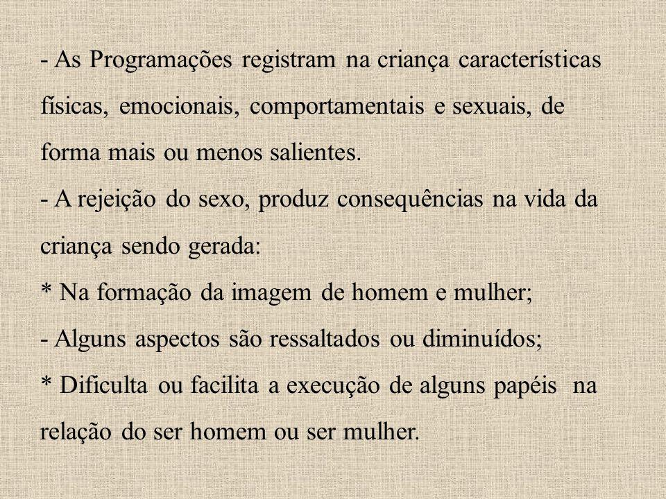 - As Programações registram na criança características físicas, emocionais, comportamentais e sexuais, de forma mais ou menos salientes. - A rejeição