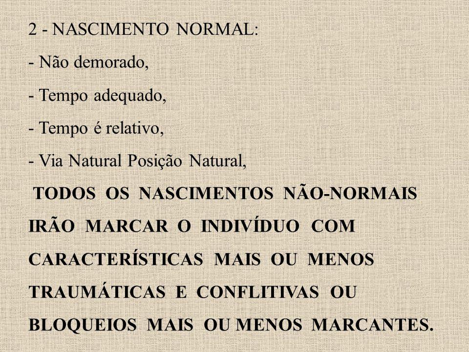 2 - NASCIMENTO NORMAL: - Não demorado, - Tempo adequado, - Tempo é relativo, - Via Natural Posição Natural, TODOS OS NASCIMENTOS NÃO-NORMAIS IRÃO MARC