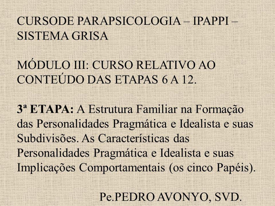 CURSODE PARAPSICOLOGIA – IPAPPI – SISTEMA GRISA MÓDULO III: CURSO RELATIVO AO CONTEÚDO DAS ETAPAS 6 A 12. 3ª ETAPA: A Estrutura Familiar na Formação d