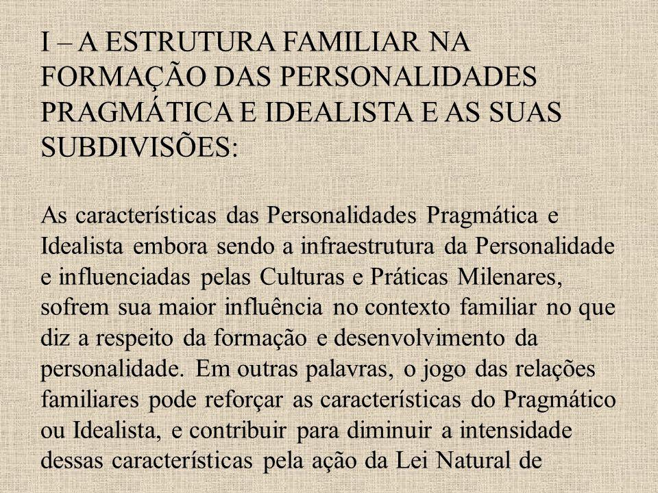I – A ESTRUTURA FAMILIAR NA FORMAÇÃO DAS PERSONALIDADES PRAGMÁTICA E IDEALISTA E AS SUAS SUBDIVISÕES: As características das Personalidades Pragmática
