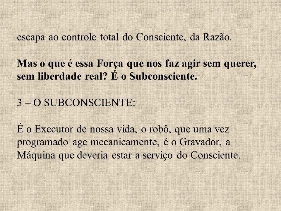 escapa ao controle total do Consciente, da Razão. Mas o que é essa Força que nos faz agir sem querer, sem liberdade real? É o Subconsciente. 3 – O SUB