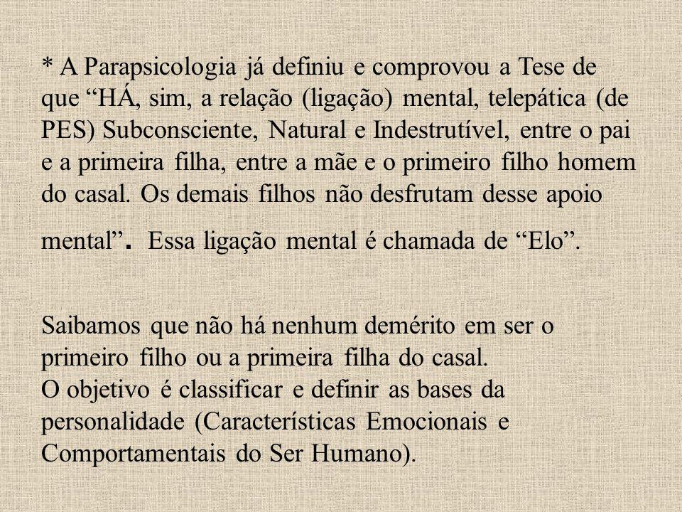 * A Parapsicologia já definiu e comprovou a Tese de que HÁ, sim, a relação (ligação) mental, telepática (de PES) Subconsciente, Natural e Indestrutíve
