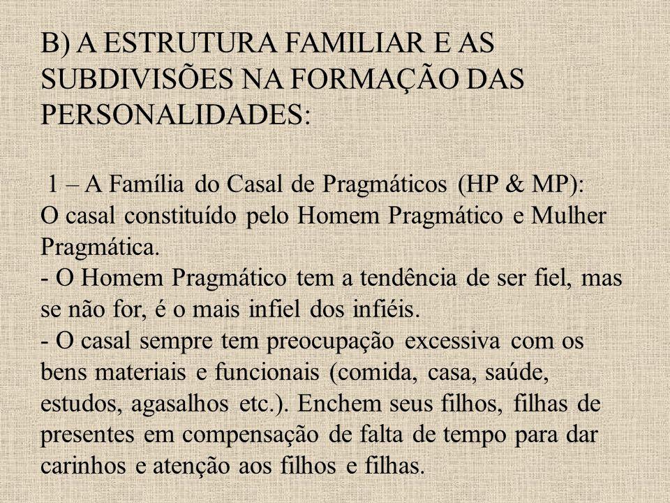 B) A ESTRUTURA FAMILIAR E AS SUBDIVISÕES NA FORMAÇÃO DAS PERSONALIDADES: 1 – A Família do Casal de Pragmáticos (HP & MP): O casal constituído pelo Hom