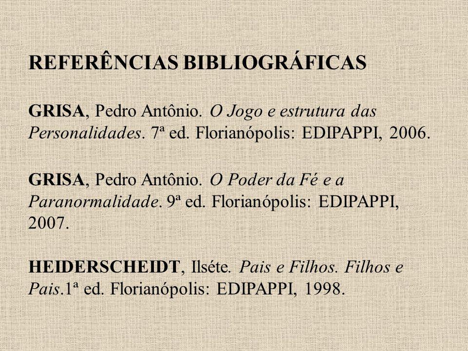REFERÊNCIAS BIBLIOGRÁFICAS GRISA, Pedro Antônio. O Jogo e estrutura das Personalidades. 7ª ed. Florianópolis: EDIPAPPI, 2006. GRISA, Pedro Antônio. O