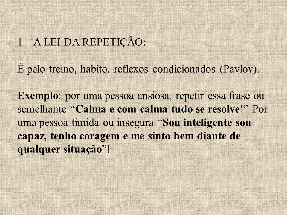 1 – A LEI DA REPETIÇÃO: É pelo treino, habito, reflexos condicionados (Pavlov). Exemplo: por uma pessoa ansiosa, repetir essa frase ou semelhante Calm