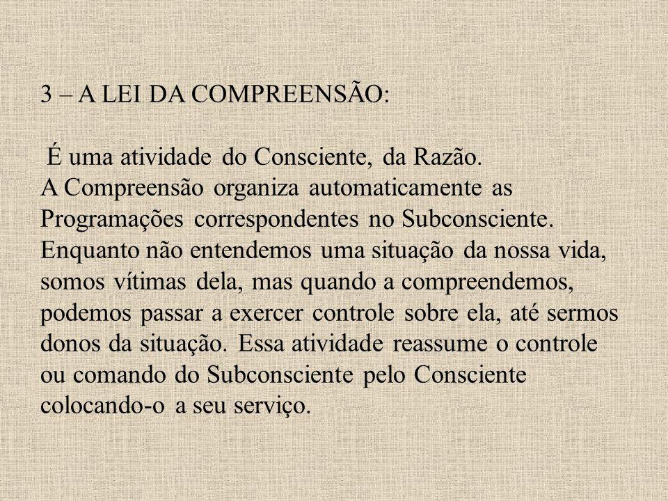 3 – A LEI DA COMPREENSÃO: É uma atividade do Consciente, da Razão. A Compreensão organiza automaticamente as Programações correspondentes no Subconsci