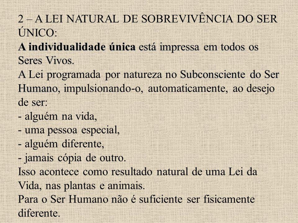 A individualidade única está impressa em todos os Seres Vivos. A Subconsciente do Ser Humano 2 – A LEI NATURAL DE SOBREVIVÊNCIA DO SER ÚNICO: A indivi