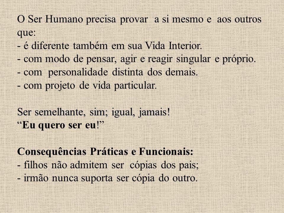 Ser semelhante, sim; igual, jamais! O Ser Humano precisa provar a si mesmo e aos outros que: - é diferente também em sua Vida Interior. - com modo de