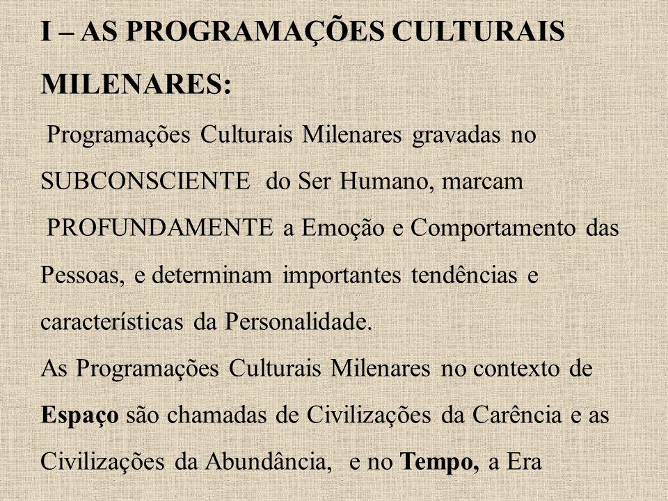 I – AS PROGRAMAÇÕES CULTURAIS MILENARES: Programações Culturais Milenares gravadas no SUBCONSCIENTE do Ser Humano, marcam PROFUNDAMENTE a Emoção e Com
