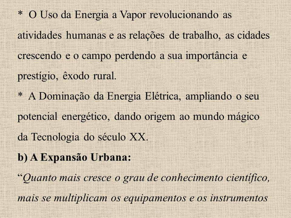 * O Uso da Energia a Vapor revolucionando as atividades humanas e as relações de trabalho, as cidades crescendo e o campo perdendo a sua importância e