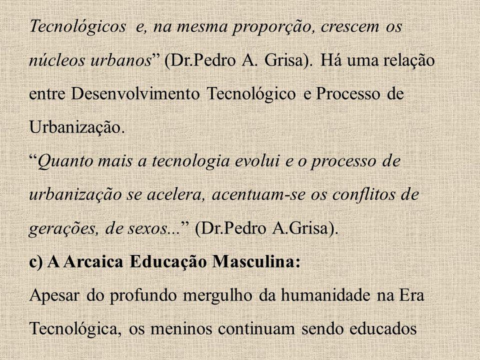 Tecnológicos e, na mesma proporção, crescem os núcleos urbanos (Dr.Pedro A. Grisa). Há uma relação entre Desenvolvimento Tecnológico e Processo de Urb