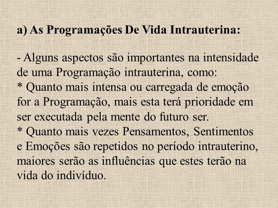 a) As Programações De Vida Intrauterina: - Alguns aspectos são importantes na intensidade de uma Programação intrauterina, como: * Quanto mais intensa