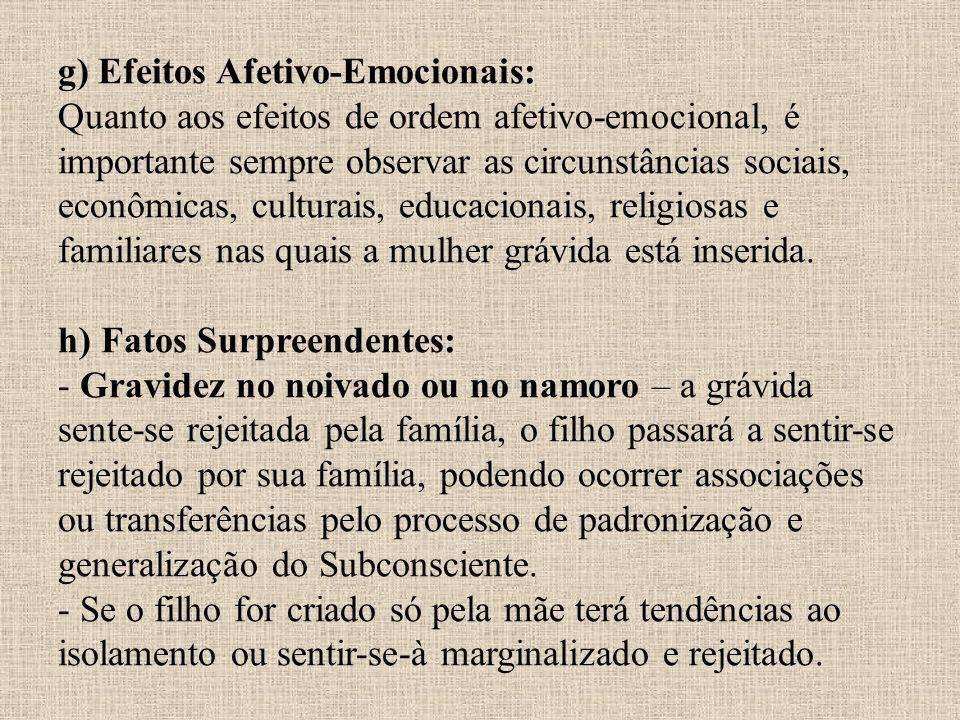 g) Efeitos Afetivo-Emocionais: Quanto aos efeitos de ordem afetivo-emocional, é importante sempre observar as circunstâncias sociais, econômicas, cult