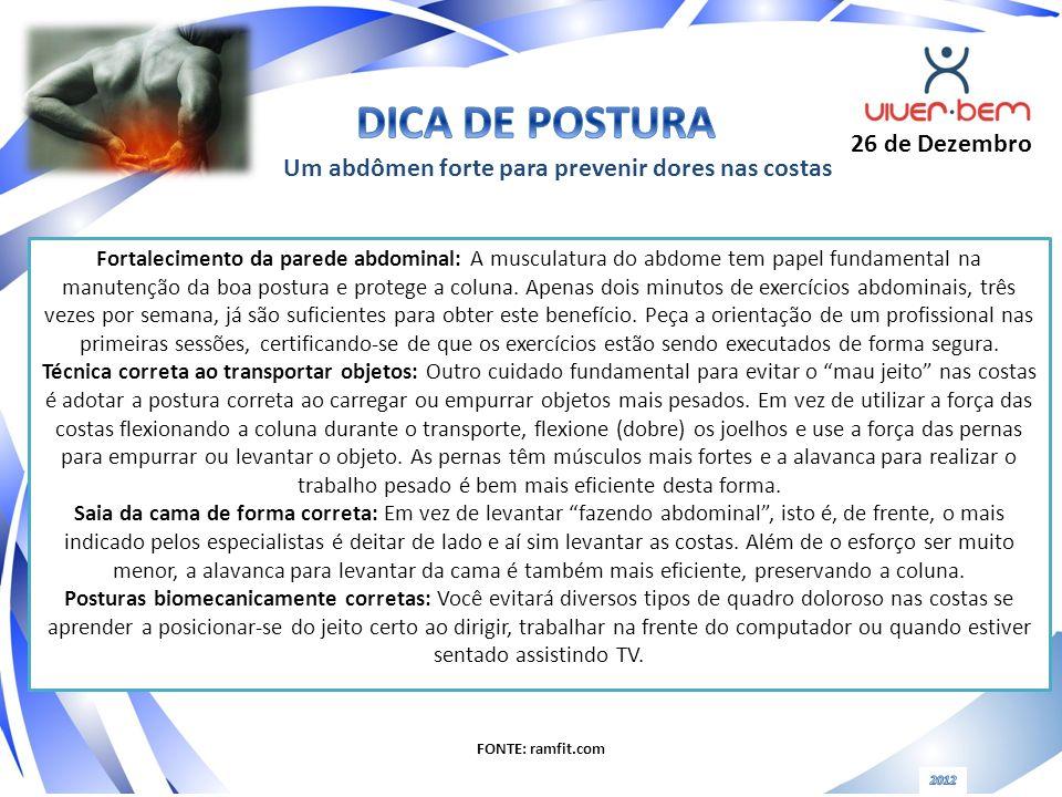 Fortalecimento da parede abdominal: A musculatura do abdome tem papel fundamental na manutenção da boa postura e protege a coluna. Apenas dois minutos