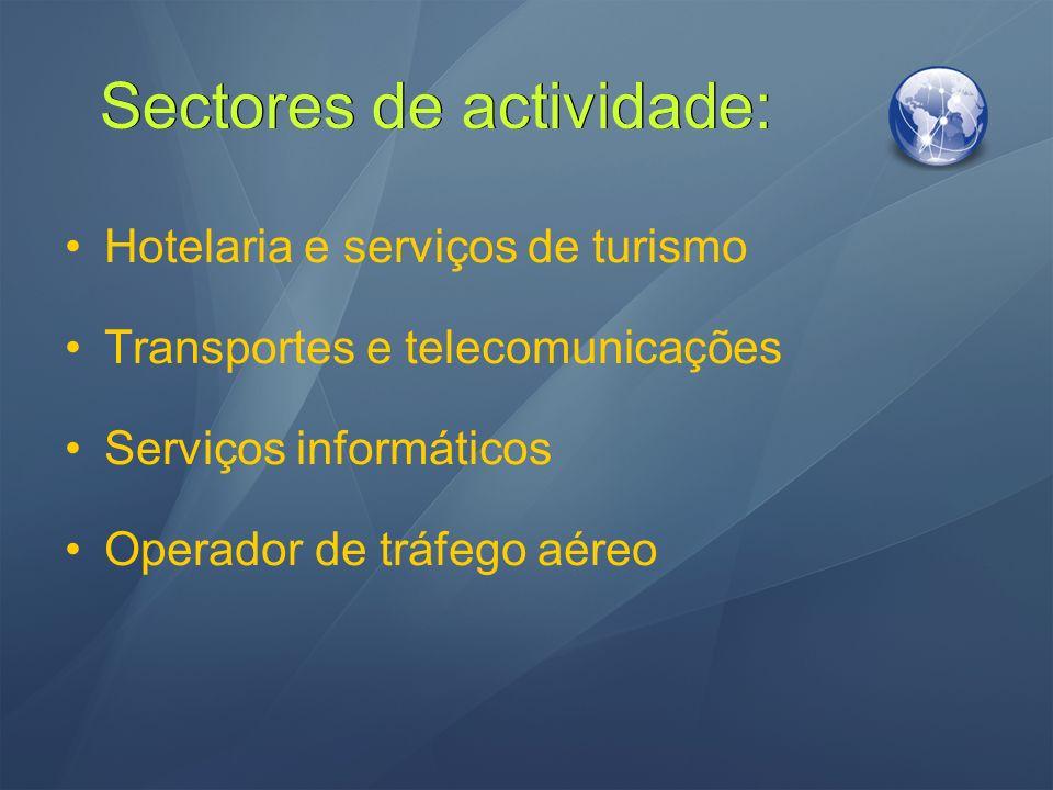 Sectores de actividade: Hotelaria e serviços de turismo Transportes e telecomunicações Serviços informáticos Operador de tráfego aéreo