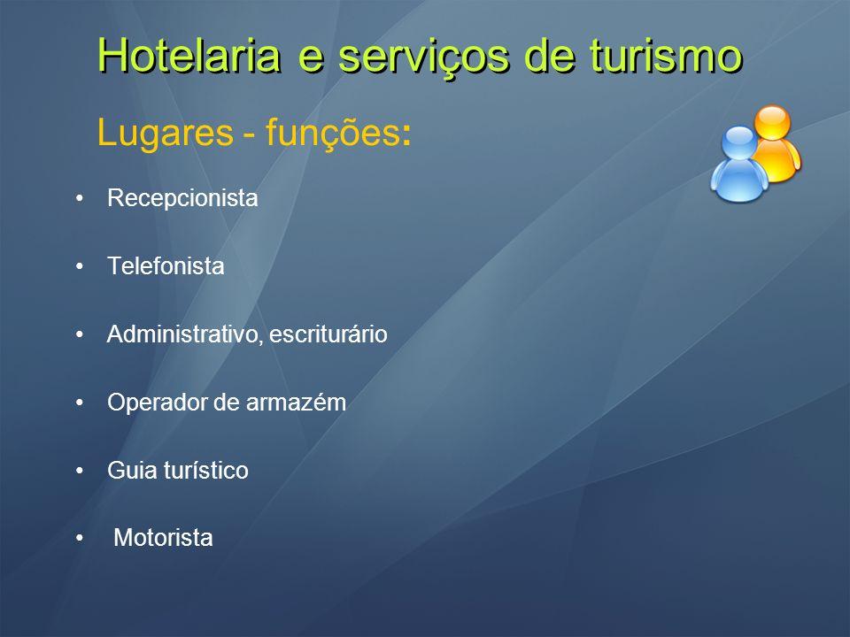 Hotelaria e serviços de turismo Lugares - funções: Recepcionista Telefonista Administrativo, escriturário Operador de armazém Guia turístico Motorista