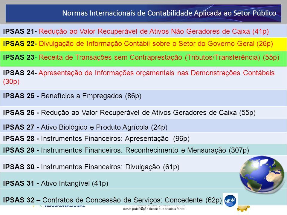 Permitida a reprodução total ou parcial desta publicação desde que citada a fonte. 17 IPSAS 21- Redução ao Valor Recuperável de Ativos Não Geradores d