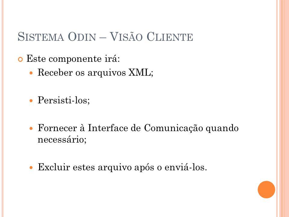 S ISTEMA O DIN – V ISÃO C LIENTE Este componente irá: Receber os arquivos XML; Persisti-los; Fornecer à Interface de Comunicação quando necessário; Excluir estes arquivo após o enviá-los.