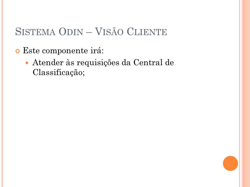 S ISTEMA O DIN – V ISÃO C LIENTE Este componente irá: Atender às requisições da Central de Classificação;