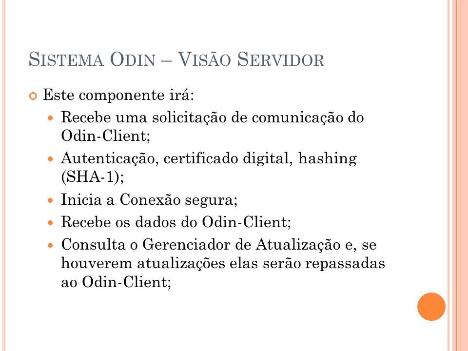S ISTEMA O DIN – V ISÃO S ERVIDOR Este componente irá: Recebe uma solicitação de comunicação do Odin-Client; Autenticação, certificado digital, hashing (SHA-1); Inicia a Conexão segura; Recebe os dados do Odin-Client; Consulta o Gerenciador de Atualização e, se houverem atualizações elas serão repassadas ao Odin-Client;