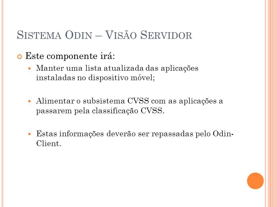 S ISTEMA O DIN – V ISÃO S ERVIDOR Este componente irá: Manter uma lista atualizada das aplicações instaladas no dispositivo móvel; Alimentar o subsistema CVSS com as aplicações a passarem pela classificação CVSS.