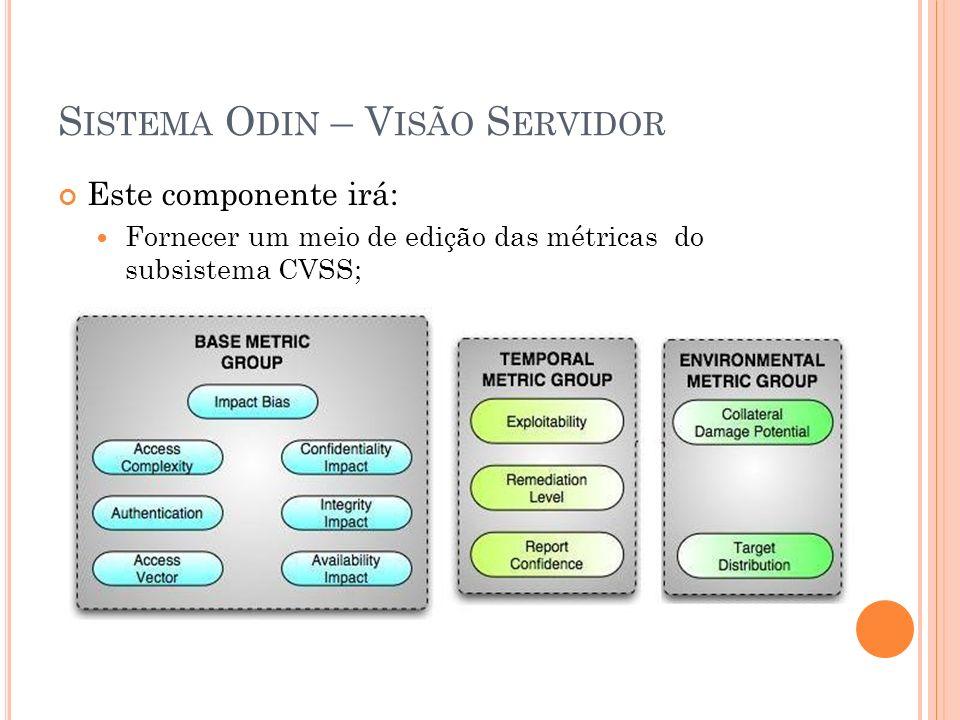 S ISTEMA O DIN – V ISÃO S ERVIDOR Este componente irá: Fornecer um meio de edição das métricas do subsistema CVSS;