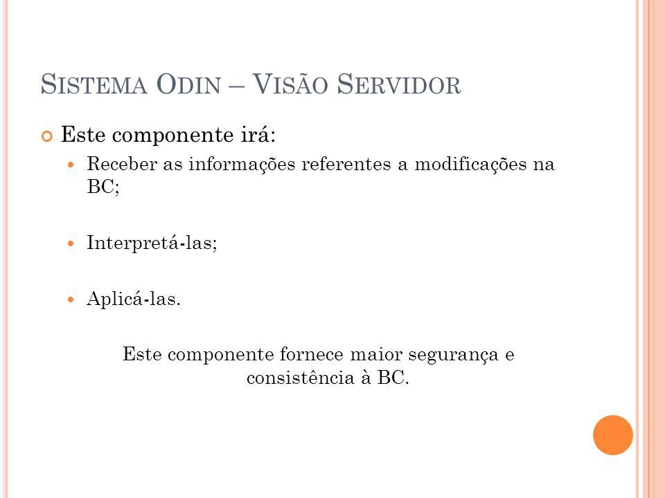 S ISTEMA O DIN – V ISÃO S ERVIDOR Este componente irá: Receber as informações referentes a modificações na BC; Interpretá-las; Aplicá-las.