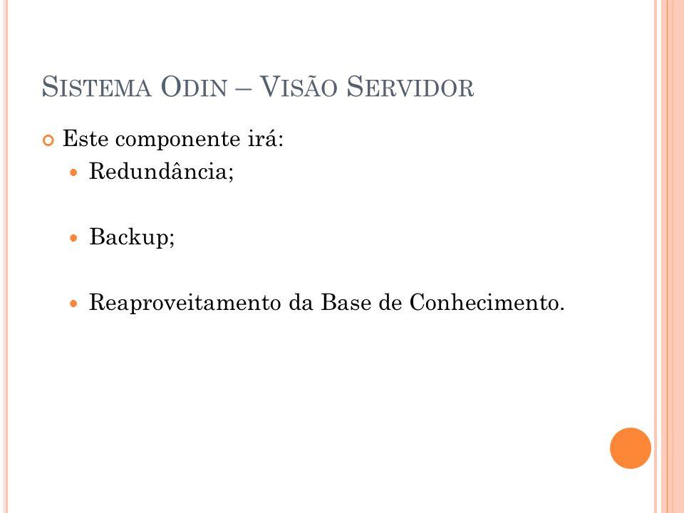 S ISTEMA O DIN – V ISÃO S ERVIDOR Este componente irá: Redundância; Backup; Reaproveitamento da Base de Conhecimento.