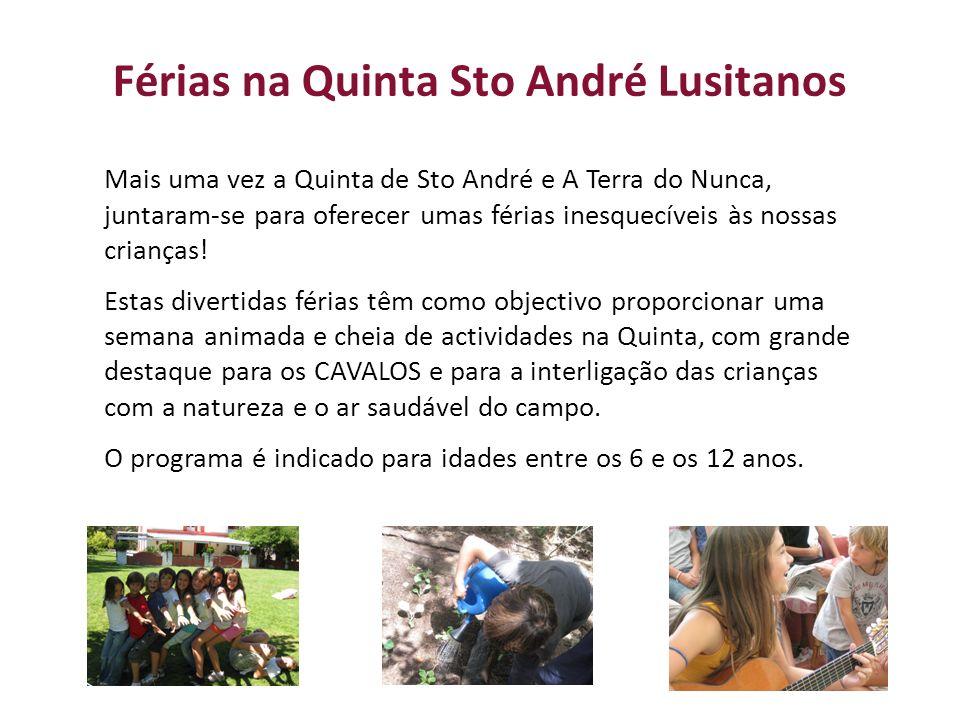 Férias na Quinta Sto André Lusitanos Mais uma vez a Quinta de Sto André e A Terra do Nunca, juntaram-se para oferecer umas férias inesquecíveis às nossas crianças.