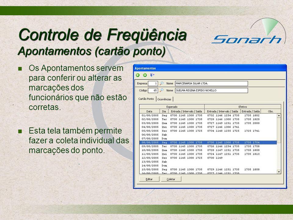 Controle de Freqüência Apontamentos (cartão ponto) Os Apontamentos servem para conferir ou alterar as marcações dos funcionários que não estão correta