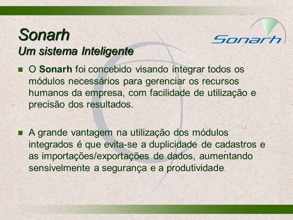 Sonarh Um sistema Inteligente O Sonarh foi concebido visando integrar todos os módulos necessários para gerenciar os recursos humanos da empresa, com