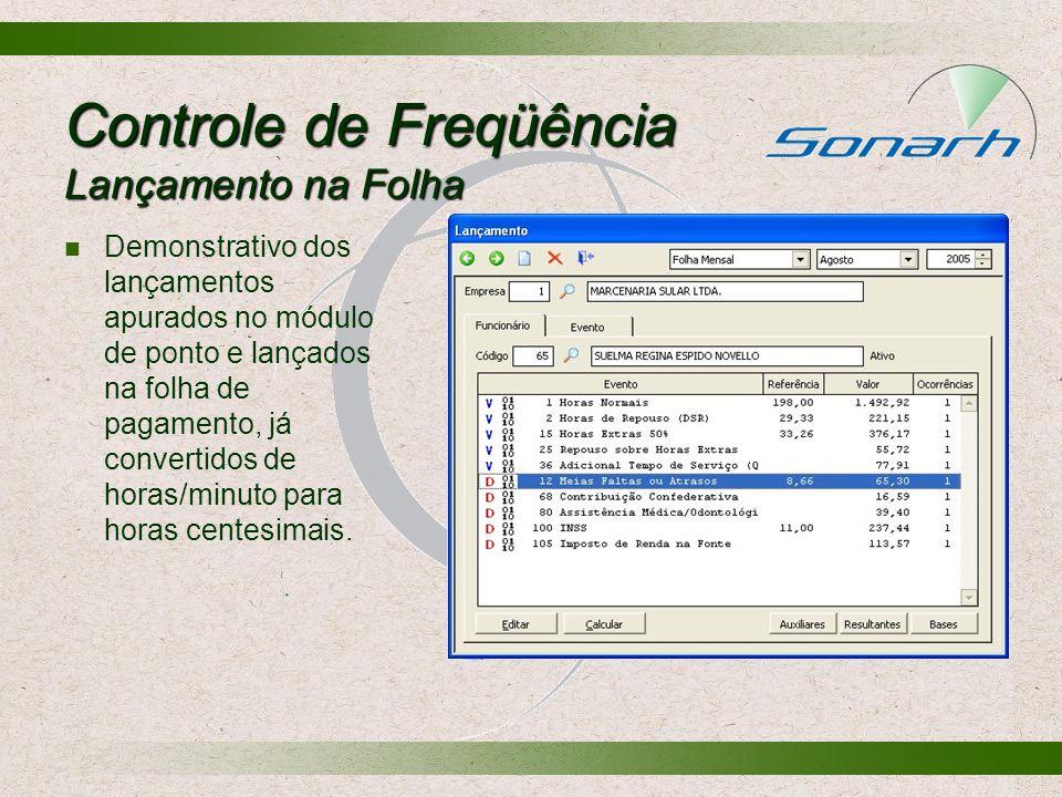 Controle de Freqüência Lançamento na Folha Demonstrativo dos lançamentos apurados no módulo de ponto e lançados na folha de pagamento, já convertidos