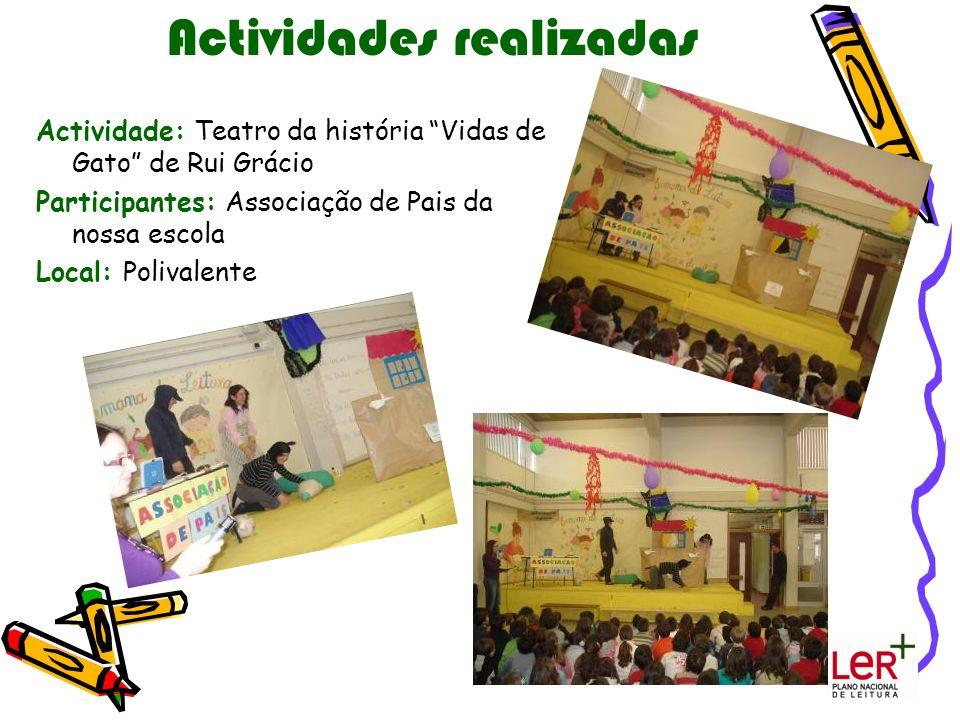 Actividades realizadas Actividade: Teatro da história Vidas de Gato de Rui Grácio Participantes: Associação de Pais da nossa escola Local: Polivalente