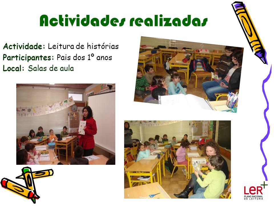 Actividades realizadas Actividade: Leitura de histórias Participantes: Pais dos 1º anos Local: Salas de aula