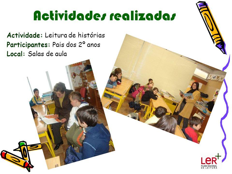 Actividades realizadas Actividade: Leitura de histórias Participantes: Pais dos 2º anos Local: Salas de aula