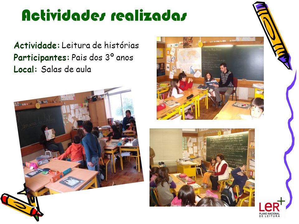 Actividades realizadas Actividade: Leitura de histórias Participantes: Pais dos 3º anos Local: Salas de aula
