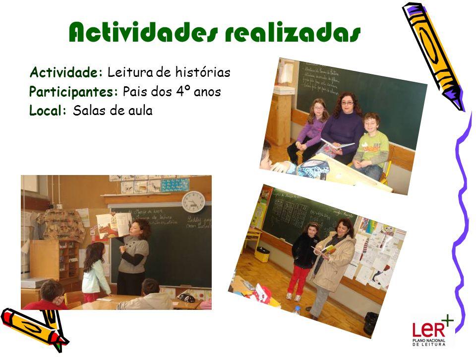 Actividades realizadas Actividade: Leitura de histórias Participantes: Pais dos 4º anos Local: Salas de aula