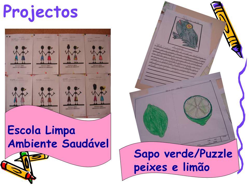 Projectos Escola Limpa Ambiente Saudável Sapo verde/Puzzle peixes e limão