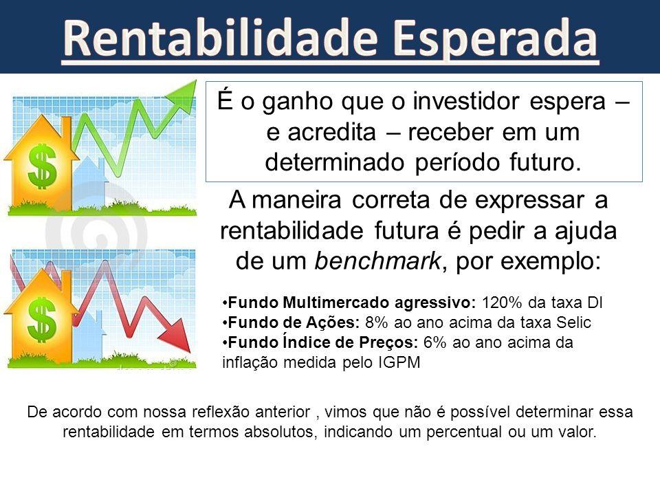 É o ganho que o investidor espera – e acredita – receber em um determinado período futuro. De acordo com nossa reflexão anterior, vimos que não é poss