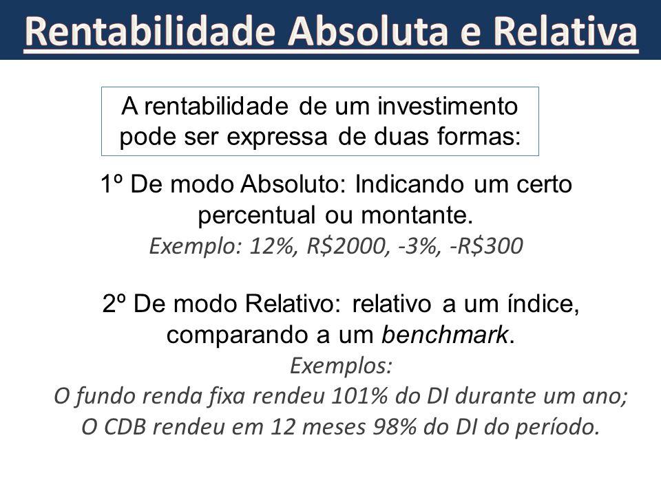 A rentabilidade de um investimento pode ser expressa de duas formas: 1º De modo Absoluto: Indicando um certo percentual ou montante. Exemplo: 12%, R$2